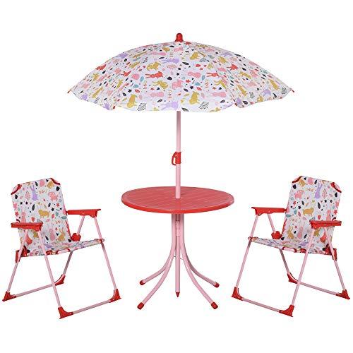 Outsunny Set de Mesa y Sillas Exterior Infantil Conjunto de Picnic Plegable para Jardín Juego de Mesa con Sombrilla Ajustable 100-125 cm Protección de UV Rojo