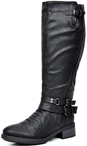 DREAM PAIRS Women's Atlanta Black Fur Lined Knee High Riding Boots Wide Calf Size 9 M US