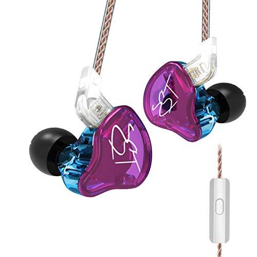 KZ ZST Armadura Dual Driver fone de ouvido (Roxo com microfone)