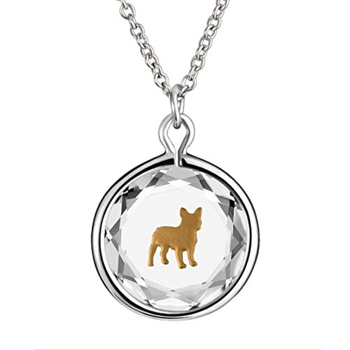 LovePendants 16-18' Pendant/Necklace in White Swarovski Crystal with Brown Enameled French Bulldog Engraving in Sterling Silver.