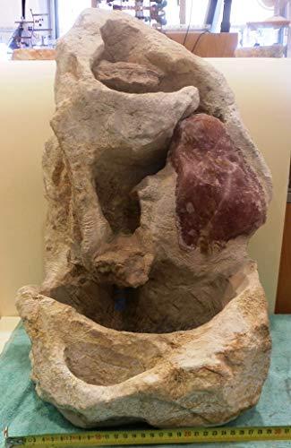 Agata Mineral Import Fontaine à Eau en Pierre à Savon (Stéatite) en Quartz Rose - Idéale pour la Maison - Mesures: 38 kg - Hauteur: 50 cm - Largeur 33 x 33 cm - Livrée sans Pompe à Eau