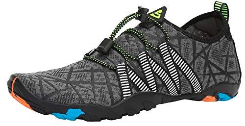 SAGUARO Escarpines Zapatos de Agua Calzado Playa Zapatillas Deportes Acuáticos para Buceo Snorkel Surf Natación Piscina Vela Mares Rocas Río para Hombre Mujer (019 Gris,42 EU)
