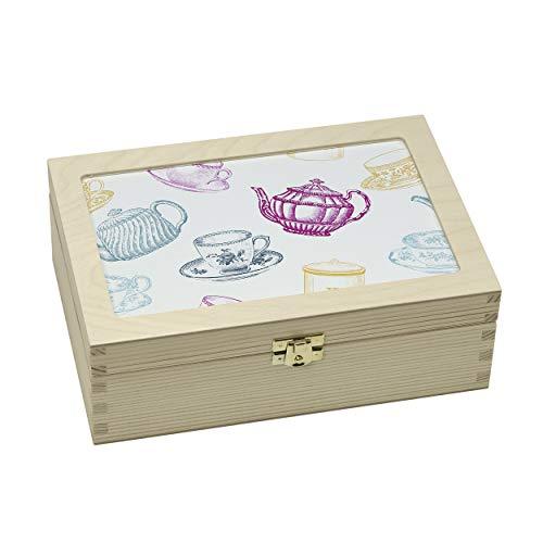contento 866386 Boîte à thé Tasse et théière, Bois, Multicolore, 23,5x16,5x9 cm