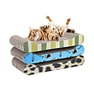 MILO & MISTY 3 Piece Patterned Scratching Pad - Cat Scratching Post - Durable Cardboard Lounger Set ...