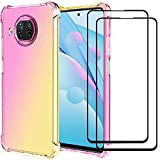 DuoLide for Redmi Note 9 pro 5G/Mi 10T Lite 5G Case with Tempered Glass Screen Protector [2 Pack], Slim Fit Soft Anti-Scratch Shockproof TPU & Reinforced Corners Airbag Case Cover,Pink/Gold