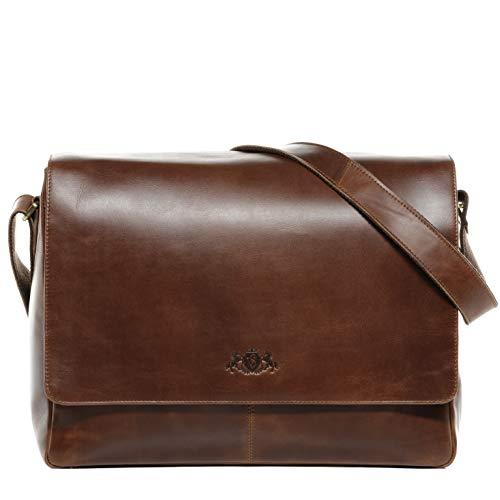 SID & VAIN Messenger Bag Spencer Large Laptop Bag Real Leather 15 inch Laptop Business Briefcase Leather Bag Women and Men Brown