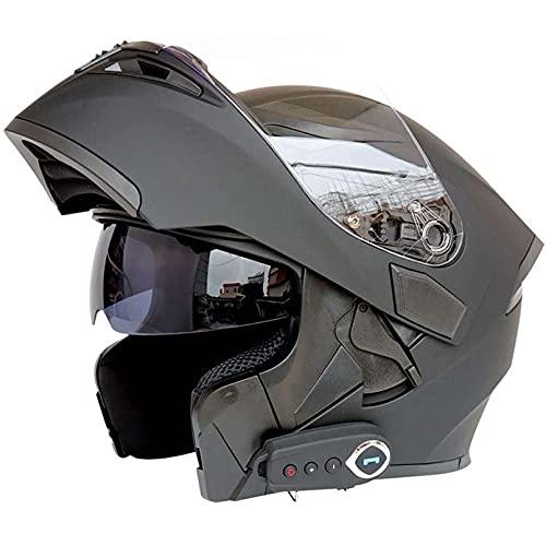 SCDJK Casco Bluetooth Modular Flip Helmet D.o.t Certificado Anti-Fog Double Mirror Respuesta Automática Bluetooth Casco con FM