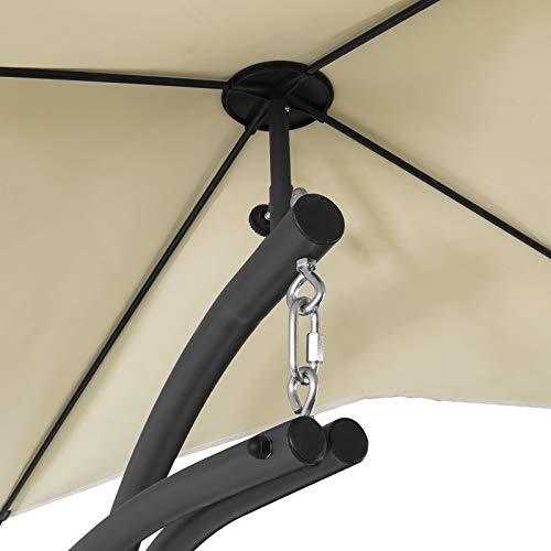 SoBuy OGS39-MI Schwebeliege mit Sonnenschirm Relaxliege Schwingliege Schaukelliege Hängesessel Hängeliege Sonnenliege Belastbarkeit 120kg beige BHT ca: 170x210x115cm - 6