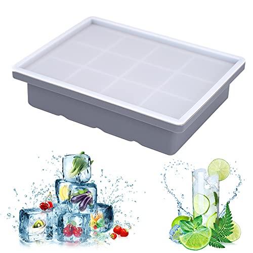 Bubuxy Eiswürfelform aus flexiblem Silikon in Lebensmittelqualität mit auslaufsicherem abnehmbarem Deckel für Cocktails, Eis, Whiskey, Saft, Obst – BPA-frei, 12 Eiswürfel