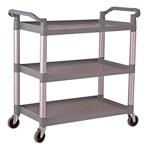 First Choice Trolley On Wheels Tool 3 Tier Hotel & Kitchen Carrito de Catering pequeño con Agarre de Mango, Carro de Rollo de Vino Gris for Cabina de avión, Carga de 150 kg, 83 × 42 × 96cm plm46