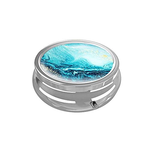 Pill Box - LIZIMANDU 3 Compartment Medicine Pill Case,Portable Medicine Tablet Vitamin Holder Organizer for Purse Pocket Travel Gift(1 Pack,1-Blue Quicksand)
