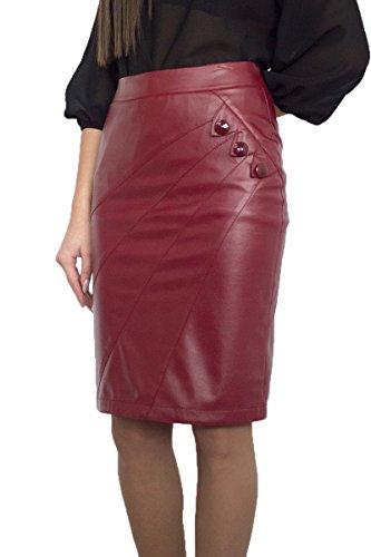 Stilvoller Damen Hohe Taille lässig Rock Bleistift Knielang Kunstleder Bordeaux Inner Futter, Größe EU 36 38 40 42 44 46 48 50 (36)