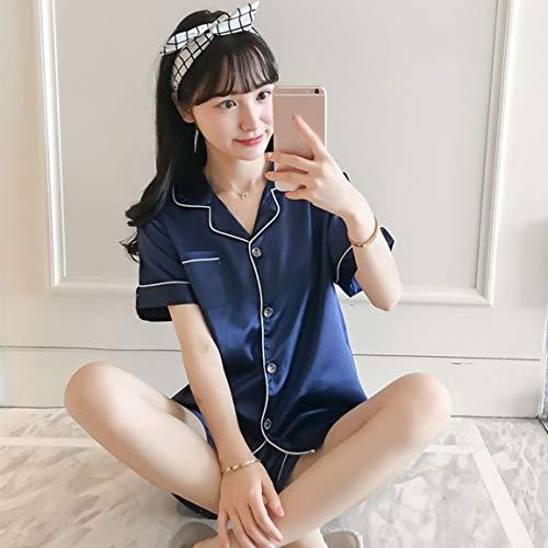 レディースショートパジャマセットシルクのようなサテンパジャマ半袖トップナイトウェアパンツボタン留めサマーラウンジウェア