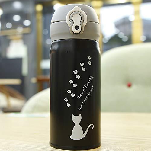 ZGZFEIYU Taza Termo de Gato de Dibujos Animados de 350 ml, Bonitos frascos de vacío portátiles de Acero Inoxidable, Botella de Agua térmica, termocup-A