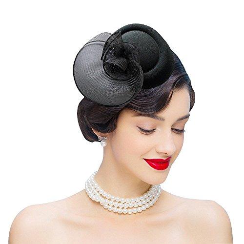 Edith qi Femmes Cappello di Cerimonia,Fascinators vintage da donna vintage anni  50, portapillole in feltro di lana con fermaglio per capelli