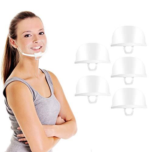 5 pezzi Visiera Bocca Paraschizzi Face Shield Protezione Schermo Facciale trasparente, traspirante, riutilizzabile, antipolvere antiappannamento con protettiva fascia elastica