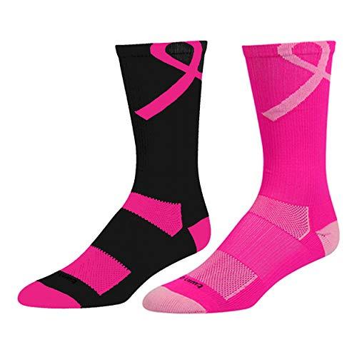 TCK Sports Breast Cancer Awareness Ribbon Crew Socks, Hot Pink/Pink, Small