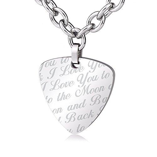 Ashley Joyero láser de acero inoxidable grabado 'I Love You To The Moon And Back' collar de púa de guitarra