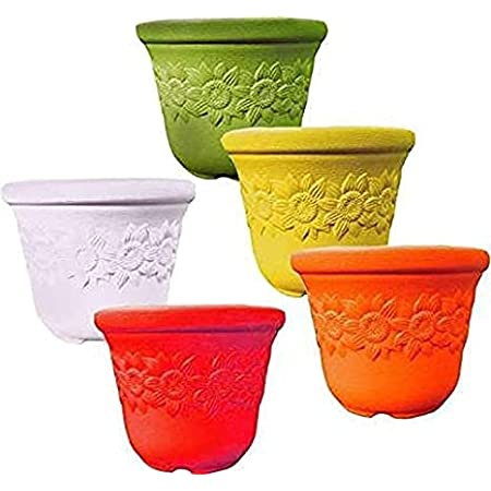 Clastik Plastic Planter, Multicolour, 10Inch Medium, Pack Of 4