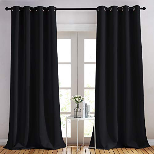 NICETOWN Black Out Curtain Panels - (52 inches by 108 Inch, Black, Set of 2) Home Decoration Thermal Insulated Solid Grommet Blackout Curtains/Drapes for Hall/Dining Room