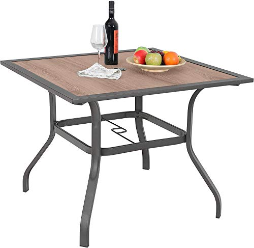 Sophia & William Patio Dining Table Umbrella Table Outdoor Coffee Bistro with Hole for Lawn Garden Pool Sturdy Metal Steel Frame Easy to Care Special Wood-Like Table top Design 37
