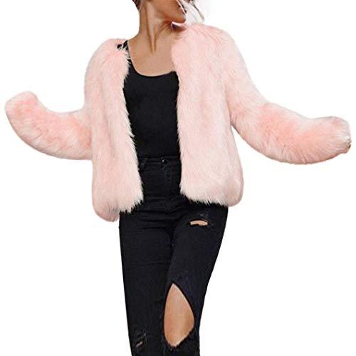 Giacca di Pelliccia Donna Eleganti Moda Manica Lunga V-Neck Pelliccia Sintetica Cappotto Corto Invernali Calda Addensare Prodotto Plus Giacca Pelliccia Outerwear (Color : Rosa, Size : L)