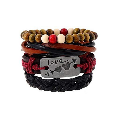 Mode 4Pcs 1 Satz Punk-Verpackungs-Leder-Armband-Männer für Frauen Charm Holz Perlen Armbänder...