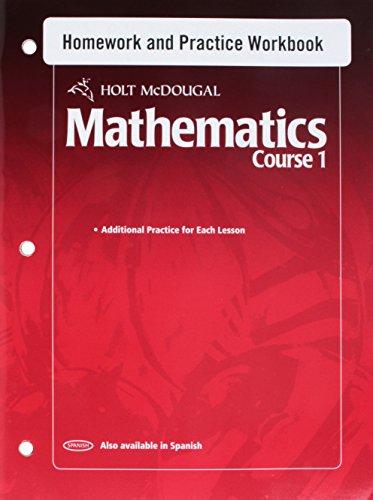 Holt McDougal Mathematics: Homework and Practice Workbook Course 1
