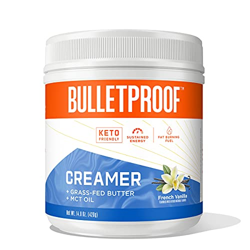 Keto Creamer, French Vanilla, 2g Net Carbs, 10g Quality Fats from Powdered MCT Oil, Grass Fed Butter, 0g Sugar, Bulletproof Coffee Creamer for Sustained Energy