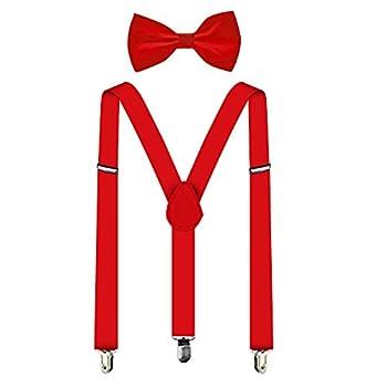 Suspenders For Men,Women Adjustable Suspends Bow Tie Set Solid Color Y Shape  Red