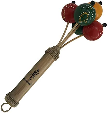 Hand painted Bamboo Ball Rattle Multi colored hand percussion musical instrument egg shaker product image