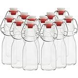 Kurtzy Botellas Cristal Tapón Basculante (Pack de 12) Set Botella Cristal 100 ml Botella de Cristal Vintage Tradicional Transparente Hermética para Bebidas, Cerveza, Aceite, Vinagre, Agua y Kombucha