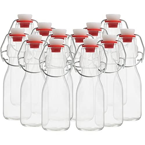 Kurtzy Botellas Cristal Tapón Basculante (Pack de 12) Set Botella Cristal 100 ml Botella de Cristal Vintage Tradicional Transparente Hermética para Bebidas, Cerveza, Aceite, Vinagre, Agua y Ko