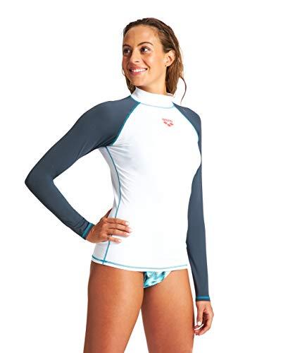 ARENA Camiseta Rash Guard para Mujer L/S Rash Guard, Mujer, Camiseta Rash Guard, 003131, Blanco Ceniza Gris, Small