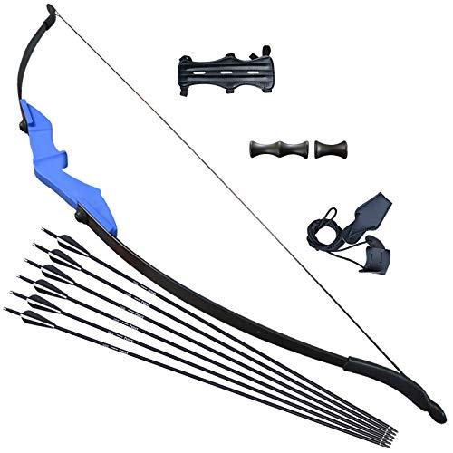 Tongtu Recurve Bogen Pfeil Set für Teenager oder Anfänger Takedown Bogen Bogenschießen Jagd (40Pfund, Blau)