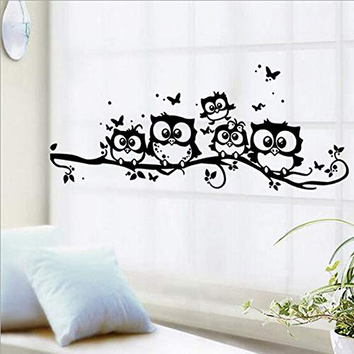 DIY schwarze Eule Schmetterling Zweige Zeichnungen, animierte Wandsticker abnehmbare Kunst, Vinyl Aufkleber Kinderzimmer Schlafzimmer Zimmer, Hauptdekoration Kunst