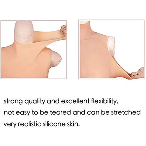 ZAYZ Crossdressing Apparel Male to Female, Silicone Breast Forms, High Neckline C-G Cup Fake Boobs, for Transgender Mastectomy (Color : Ivory, Size : G CUP)