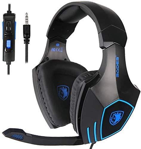 Sades R4 Stereo Gaming Headset für PS4, PC, Neue Xbox One, Noise Cancelling über Ohr Kopfhörer mit Mikrofon, LED-Licht, Lautstärkeregler, Bass Surround für Laptop Mac iPad iPod Smart Phones
