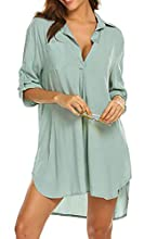 Cubre bikini de mujer con camisa de 3/4 de gasa, blusa con cobertura en V, vestido de playa, playa, pareo, Verde, L