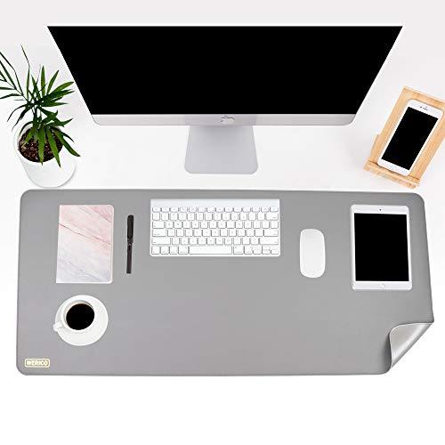 WERICO Tischunterlage, Schreibtischunterlage, 90 x 40cm PU-Leder Tischunterlage, Laptop Tischunterlage, wasserdichte Schreibunterlage für Büro- oder Heimbereich, doppelseitig (grau/silber)