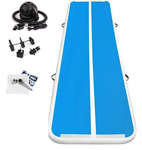 FBSPORT 3M Länge Aufblasbar Gymnastik Tumbling Matte Air Track Weichbodenmatte für Zuhause/Yoga/Taekwondo/schwimmende/Camping Trainingsmatte mit Elektrische Pumpe