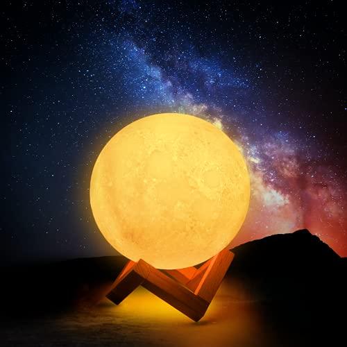CoMokin Neu 3D Mond Lampe 16 Farben LED Wiederaufladbares Nachtlicht, Dimmbare Galaxis Lampe mit Holzständer, Fernbedienung und Touch Steuerung für Baby Freunde