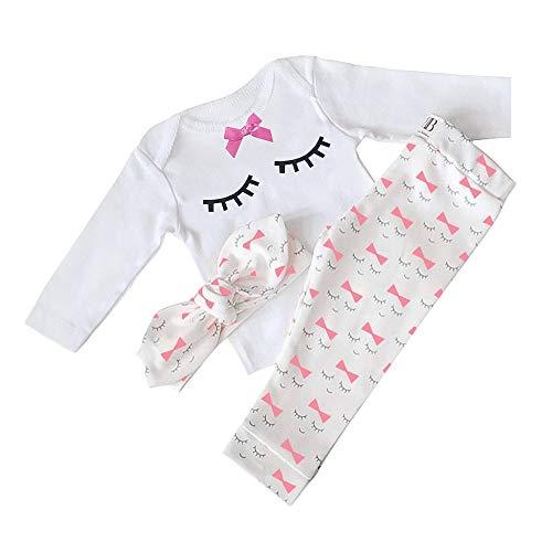 Ropa Interior de Bebe Otoño Invierno Infantil Pijama Recien Nacido Bebé Niña Manga Larga Camisetas + Pantalones Largos + Venda Conjuntos De Ropa (Pestañas Blancas.,18-24 Meses)