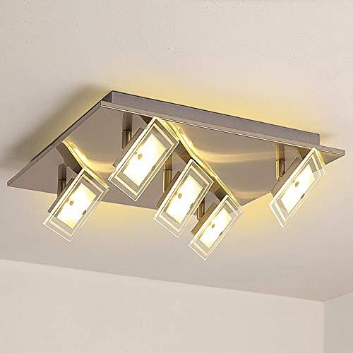 Lámpara de techo LED, moderna, rectangular, giratoria, con 5 focos, de cristal, para salón, cocina, dormitorio, 5 x 5 W, 2000 lúmenes, clase energética A++, color blanco cálido