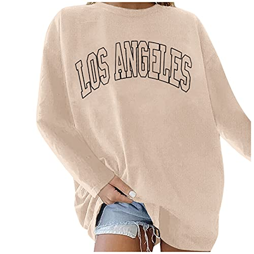 Blusa de mujer de tallas grandes, camiseta suelta, camiseta de manga larga para otoño, camiseta informal de gran tamaño, cuello redondo, Color caqui., XL
