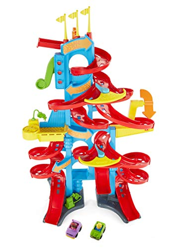 Fisher-Price FXK59 Little People High House Racing Track and Car Park for Children with Sounds and 2 Toy Figures, Approximately 93 cm High, Toy from 18 Months