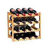 RIIPOO 16 Bottles Wine Rack, 4 Tier Nature Bamboo Wine Display Rack, Free Standing and Countertop Wine Storage Shelf