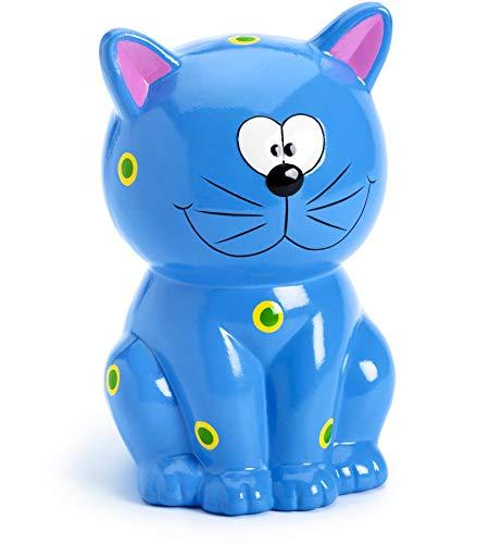 Mousehouse Gifts - Tirelire en forme de chat - bleu - pour fille/garçon