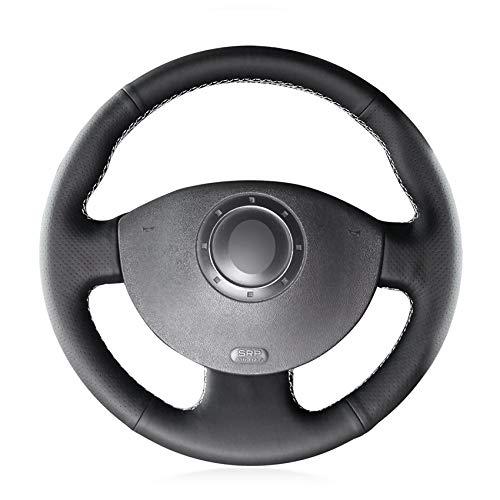 HCDSWSN Couvre Volant de Voiture en Cuir Artificiel Noir pour Renault Megane 2 2003-2008 Kangoo 2008-2012 Scenic 2 2003-2009