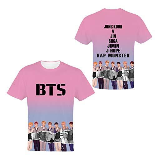 JLTPH Camiseta Unisex KPOP BTS Bangtan Boys Impreso en 3D Manga Corta Camisa Hip Pop Tops Tees Shirt Suga Jin Jimin Jung Kook J-Hope Rap-Monster V